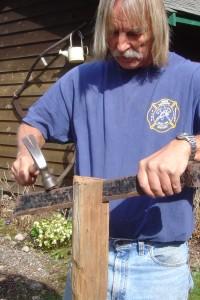Splitting Cedar with Froe