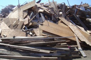 Mountain of wood waste at the dump